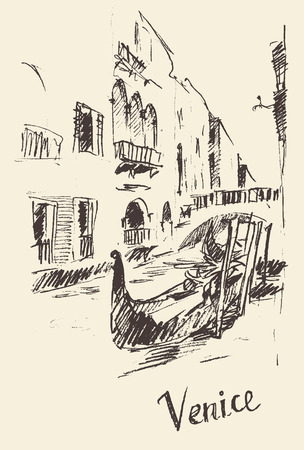 gondolier: Streets in Venice Italy with gondola vintage engraved illustration hand drawn