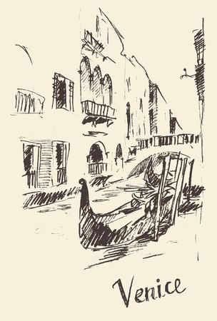 venice gondola: Streets in Venice Italy with gondola vintage engraved illustration hand drawn