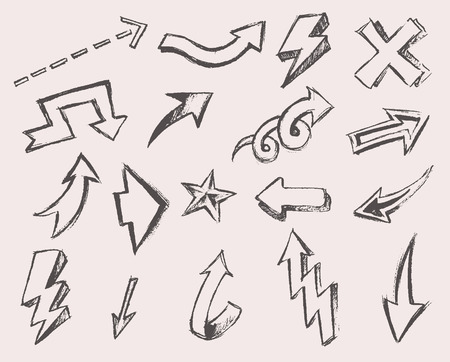drawing arrow: Set of vector arrows hand drawn arrows set one hundred pieces sketched style design elements vector illustration