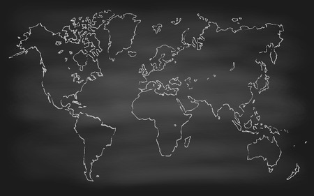 World Map Contour Vector Illustration On Chalkboard Blackboard - Us map chalkboard