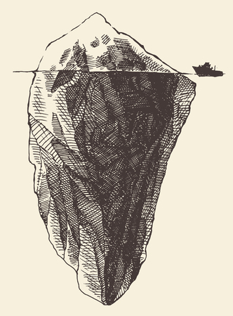 Iceberg vintage engraved illustration hand drawn sketch