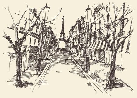 Streets in Paris France vintage engraved illustration hand drawn