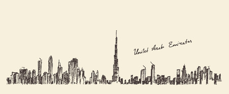 Dubai City skyline detailed silhouette. Hand drawn, engraved vector illustration. Black and White Ilustração