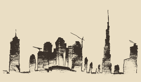 urban city: Dubai City skyline detailed silhouette. Hand drawn, engraved vector illustration. Black and White Illustration
