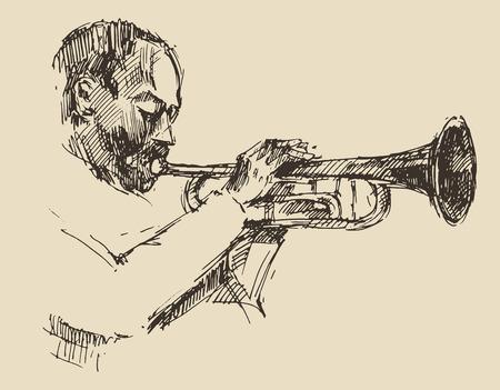 JAZZ Man spelen van de Trompet hand getekend, schets vector Stock Illustratie