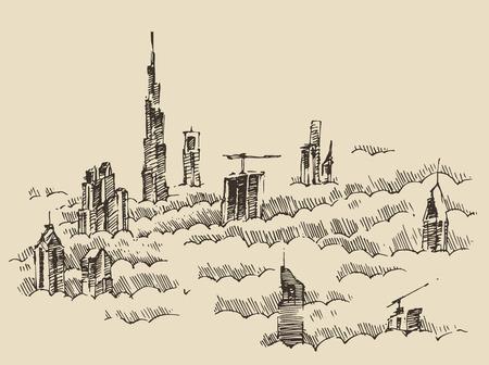 emirates: Dubai City skyline detailed silhouette. Hand drawn, engraved vector illustration. Black and White Illustration