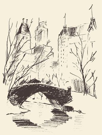 central park: Bosquejo de un parque central de Nueva York paisaje con un puente sobre el r�o ejemplo del vector dibujado a mano Vectores