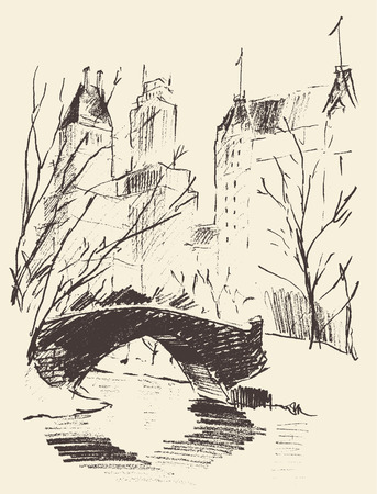 Sketch of a central park New York landscape with a bridge over the river hand drawn vector illustration