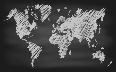 mapa de europa: Mapa del mundo ilustración vectorial de contorno a mano pizarra pizarra dibujada Vectores