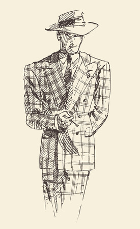 suite: Fashion men in checkered suite with hat and cigar hand drawn vector illustration