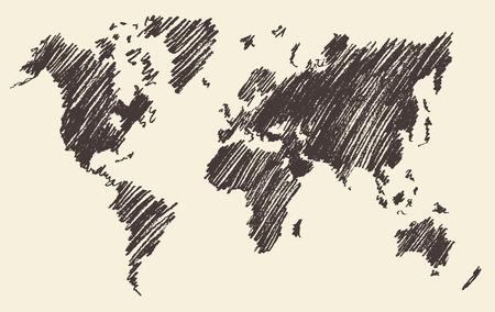 Weltkarte Kontur Vektor-Illustration auf Tafel Tafel Hand gezeichnet Standard-Bild - 41081263