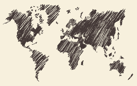 World map contour vector illustration on chalkboard blackboard hand drawn