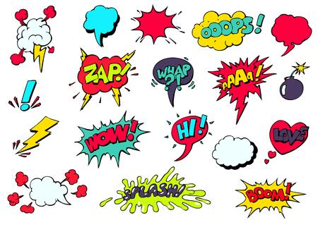 and sound: Conjunto de discurso c�mico fresco y din�mico brillante burbujas de diferentes emociones y efectos de sonido Vectores