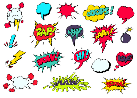 cartoon emotions: Set of bright cool and dynamic comic speech bubbles for different emotions and sound effects