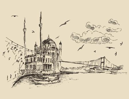 boceto: Ilustración grabada boceto dibujado a mano Estambul Turquía arquitectura de la ciudad puerto de la vendimia Vectores