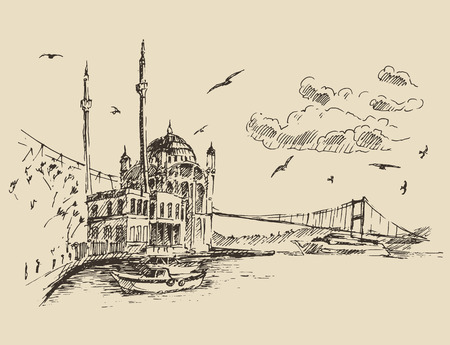 Istanbul Turkey city architecture harbor vintage engraved illustration hand drawn sketch Ilustração