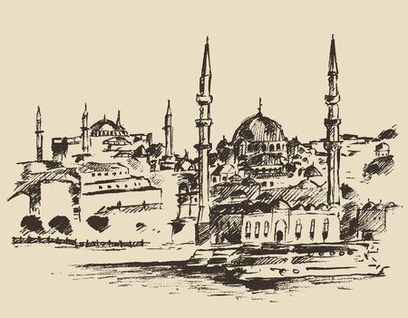 harbour: Istanbul Turchia architettura della citt� portuale vintage illustrazione inciso disegnati a mano schizzo