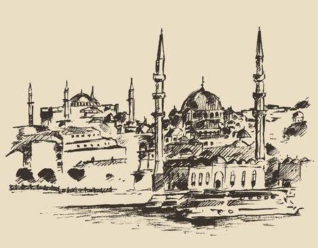 istanbul: Istanbul Turkey city architecture harbor vintage engraved illustration hand drawn sketch Illustration