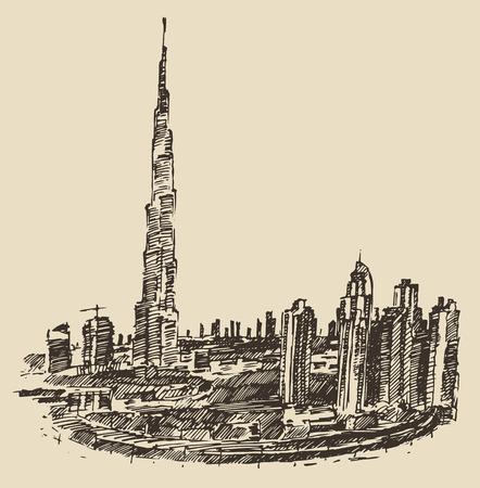 dubai: Dubai City skyline detailed silhouette. Hand drawn, engraved vector illustration. Black and White Illustration
