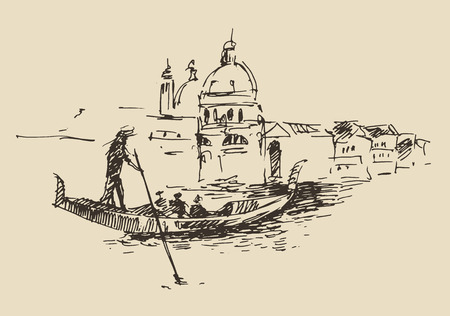 Streets in Venice Italy with gondola vintage engraved illustration hand drawn