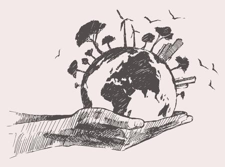 Groene wereld concept. Boom op de aarde in handen, met de hand getekende