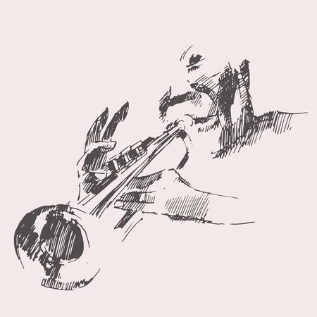 jazz men: JAZZ Man Playing the Trumpet  hand drawn, sketch vector Illustration