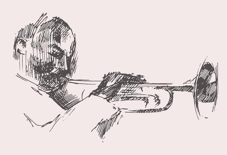 JAZZ homme jouant de la main Trompette dessinée, vecteur croquis Vecteurs