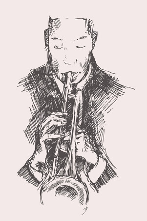 jazz: JAZZ Man Playing the Trumpet  hand drawn, sketch vector Illustration
