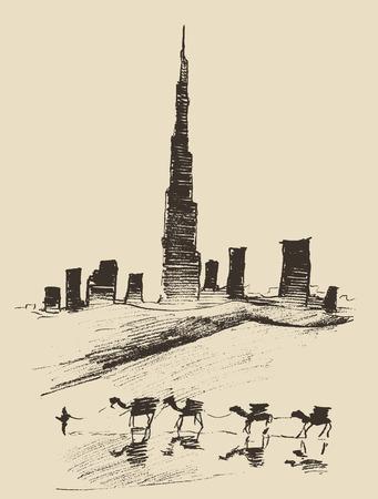 camello: Caravana de camellos con la ciudad de Dubai horizonte de la silueta en el fondo Dibujado a mano ilustración vectorial