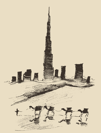 Caravan of camels with Dubai City skyline silhouette on background Hand drawn vector illustration