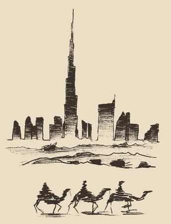 dubai: Caravan of camels with Dubai City skyline silhouette on background Hand drawn vector illustration