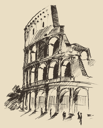 rome: Coliseum hand drawn vector illustration sketch isolated