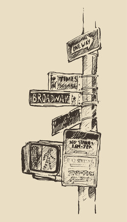 times square: Street sign in New York Broadway Times square One road vintage hand drawn vector illustration Illustration