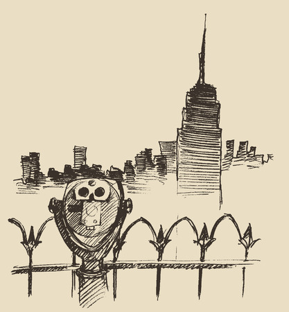 empire state building: Viewpoint with binoculars binocular viewer and city skyline hand drawn vector illustration