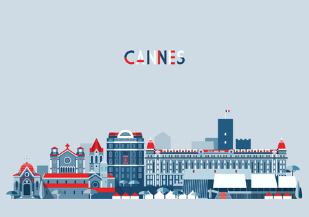 Cannes France city skyline background Flat trendy illustration