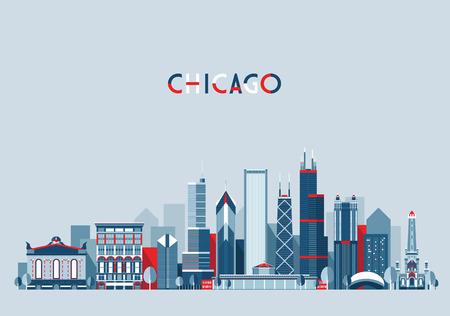 skyline city: Chicago United States city skyline vector background Flat trendy illustration