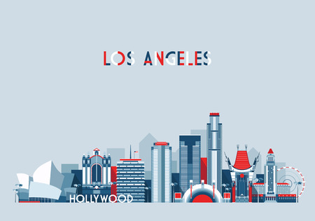 silhouette america: Los Angeles United States city skyline vector background Flat trendy illustration