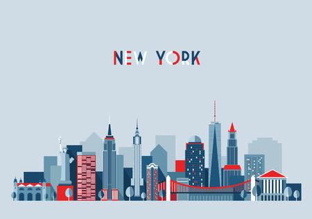 뉴욕시 아키텍처의 벡터 일러스트 레이 션의 스카이 라인 도시 실루엣 마천루 플랫 디자인