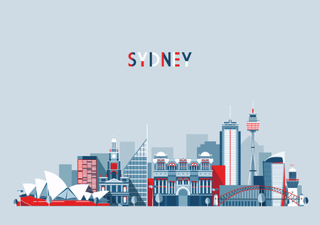 sydney: Sydney Australia city skyline vector background Flat trendy illustration