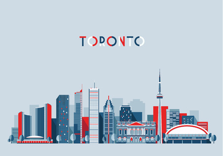 tower: Toronto Canada city skyline vector background Flat trendy illustration
