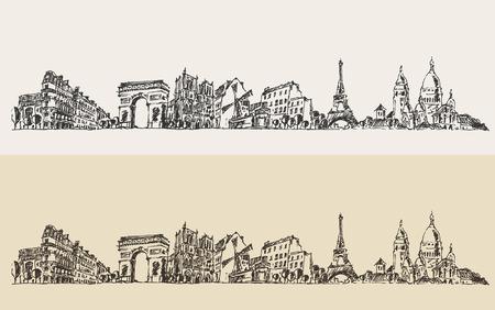 paris vintage: Dibujado París Francia cosecha ilustración grabada mano