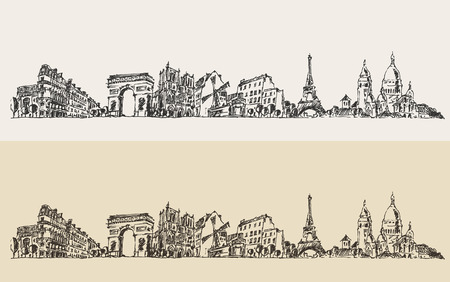 Paris France vintage engraved illustration hand drawn