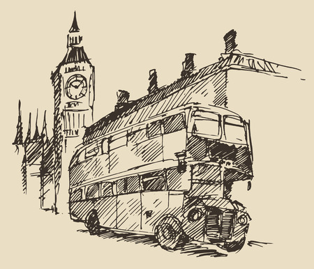 Streets in London England with London Bus and Big Ben vintage engraved illustration hand drawn