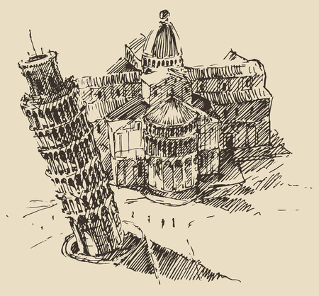 pisa cathedral: Leaning Tower of Pisa and Cathedral Italy vintage engraved illustration hand drawn