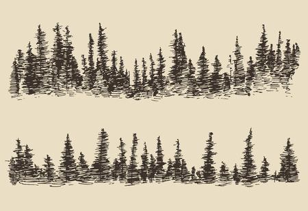 montagna: Montagne contorni delle montagne con schizzo foresta di abeti illustrazione incisione vettoriale disegnato a mano