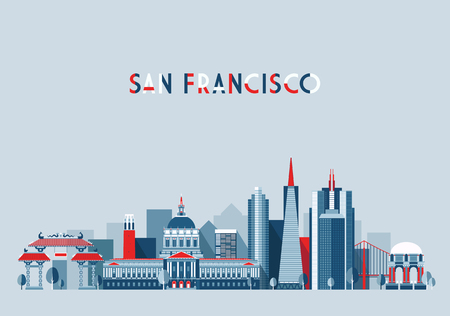 francisco: San Francisco United States city skyline vector background Flat trendy illustration