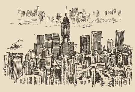 Hong Kong big city architecture engraved illustration hand drawn sketch
