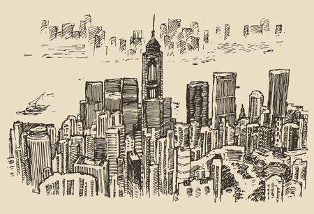 hong kong city: Hong Kong big city architecture engraved illustration hand drawn sketch