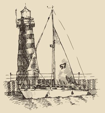 beacon: Ship and beacon vintage engraved illustration, hand drawn Illustration