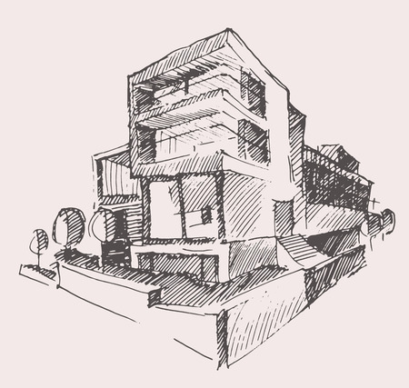 luxury house exterior: Architect draft of modern new house engraving vector illustration building design concept hand drawn Illustration